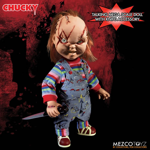 """Official Child/'s Play Scarred Chucky Talking 15/"""" Doll Mezco"""
