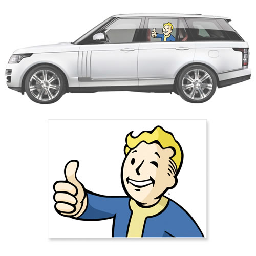 Automotive Graphics - Fallout 4 - Thumbs-Up Vault Boy Passenger Series Window Decal