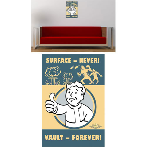"Fallout 4 Metal Sign - Vintage ""Surface Never - Vault Forever"" Replica"
