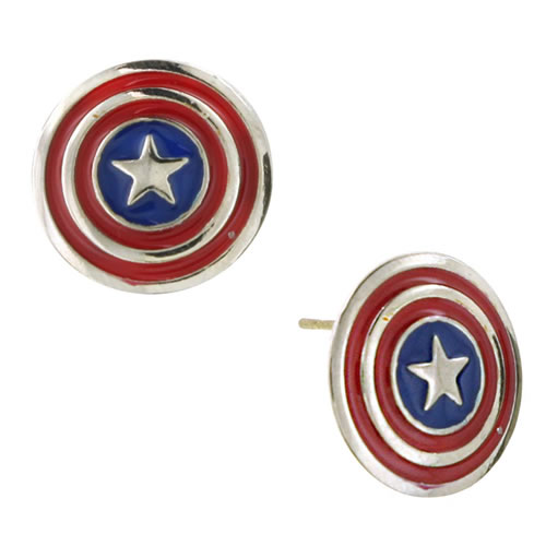 Marvel Earrings - Captain America Shield Stud Earrings