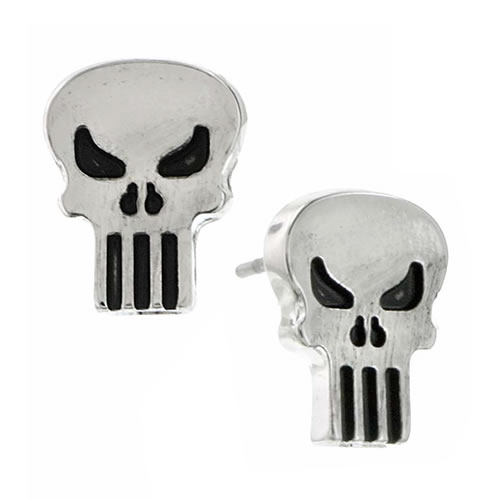 Marvel Earrings - The Punisher Silver Tone Stud Earrings