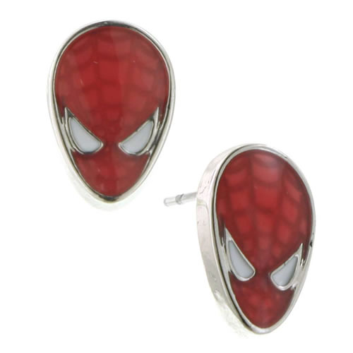 Marvel Earrings - Spiderman Silver Tone Red Enamel Stud Earrings