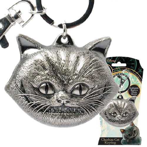 Alice Through The Looking Glass Keychains - Pewter Cheshire Cat Face