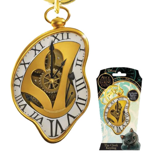 Alice Through The Looking Glass Keychains - Pewter Clock
