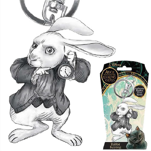 Alice Through The Looking Glass Keychains - Pewter Rabbit