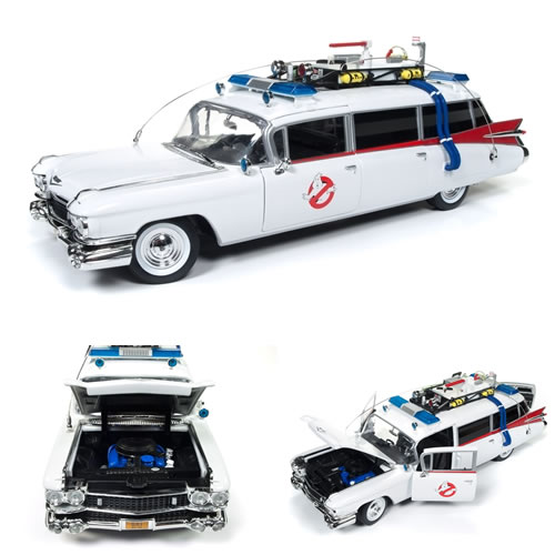 1:18 Scale Diecast - Ghostbusters - Ecto-1 (Cadillac Ambulance '59)